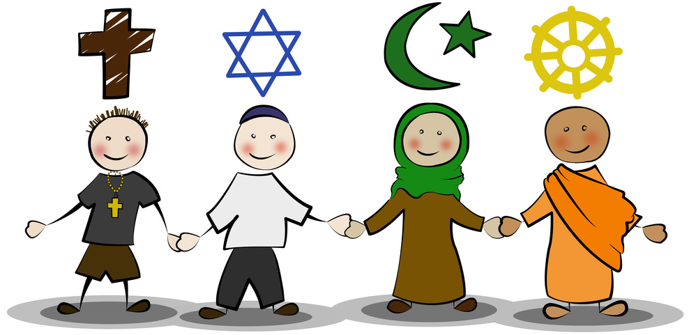 Christ, Jude, Moslem, Buddhist Hand in Hand